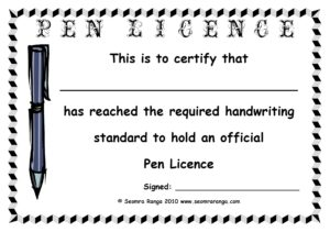 pen licence template